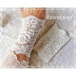 STULPEN Ivory Brautstulpen Armstulpen Spitzenstulpen Damenstulpen Pulswärmer Spitze Hochzeit Braut E+K