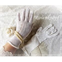 HANDSCHUHE Gr.M Brauthandschuhe Weiß Damen Fingerhandschuhe Vintage Shabby Frauen Braut Hochzeit E