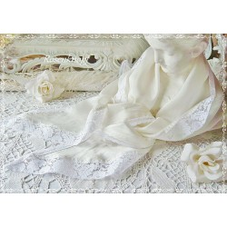 Kleines TUCH Seide Ivory Weiß Spitze Braut Stola
