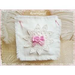 Lavendel Duftkissen SPITZE Shabby Satinrose Weiß Rosa
