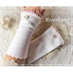 STULPEN Weiß Brautstulpen Armstulpen Fleecestulpen Pailletten Irisierend Knopf Damenstulpen Handstulpen Unikat K