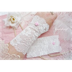 Brautstulpen Spitzenstulpen Weiß Rose