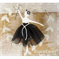 BALLERINA Schwarz Weiß Shabby Brocante Tänzerin Tüll Tütü Ballett Geschenk Mobile Windspiel Give Away Mitbringsel K