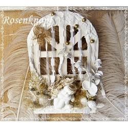 Dekoration Fenster Weihnachten Weiß Gold Engel Unikat   K