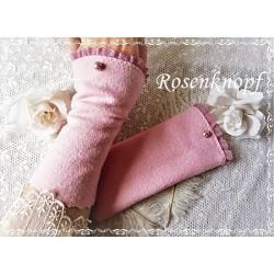 WALKSTULPEN Armstulpen Stulpen Pulswärmer Damenstulpen Rosa Perle Frauen E