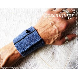 PULSWÄRMER Blau Jeansblau Herrenstulpen Stulpen Walkstulpen Manschette Walk Walkmanschetten Männer Wollstulpen Blausy K