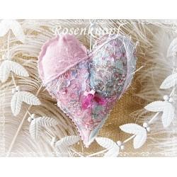 STOFFHERZ in romantischem Rosa und Mint mit Spitze im Shabby Stil ♥ UNIKAT