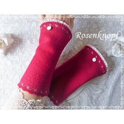 Walkstulpen Rot mit Weiß Damen Unikat E+K