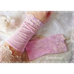 Brautstulpen ROSÉ  Spitzenstulpen Rosa Spitze