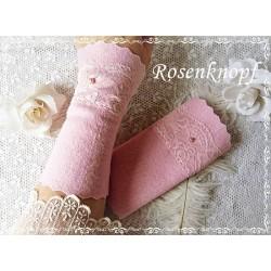 WALKSTULPEN Brautstulpen Rosa Spitze