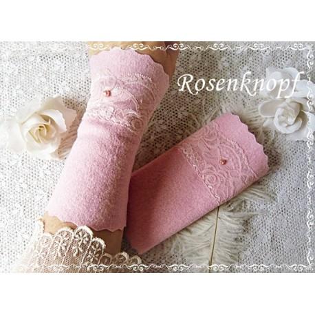 Walkstulpen Brautstulpen Ivory Rosa