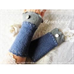 STULPEN Armstulpen Pulswärmer Damenstulpen Walkstulpen Handstulpen Walk Blau Jeansblau Grau Knopf Frauen E