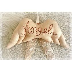 Flügel ANGEL Engelsflügel Apricot Rotbraun Stickerei