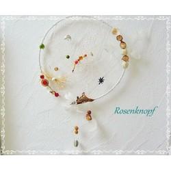 Traumfänger Weiß Perlen Holz Federn 25 K