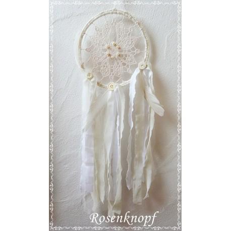 TRAUMFÄNGER im Shabby Chic Stil Weiß Ivory Spitze Perlen