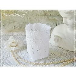 WINDLICHT Lichtbeutel Glashusse Teelichtbeutel Weiß Shabby Spitze Lochstickerei Batist Geschenk Mitbringsel Give Away E