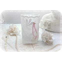 Stoff Lichtbeutel ZART-BESTICKT Weiß Rosa Perlen Spitze
