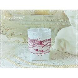 Lichtbeutel Teelicht Weiß Rosa