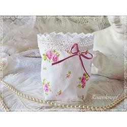 Windlicht Lichtbeutel Weiß Rosen