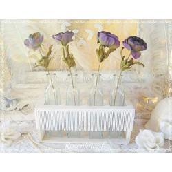 4tlg Blumenvasen Set ANEMONE Glas Weiß Shabby Holz