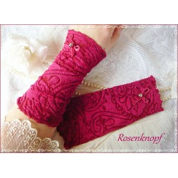 Spitzenstulpen Brautstulpen PINK ROSE Weiß Rosa