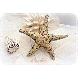 SEESTERN  Grün-Floral Stoffstern Textil Pailletten Perlen