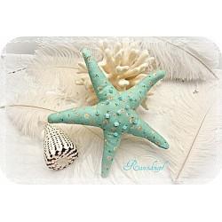 SEESTERN Türkisblau Stoffstern Textil Pailletten Perlen