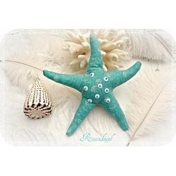 SEESTERN  Azurblau Stoff Textil Pailletten Perlen