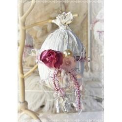OSTERN Osterei Ei Osterstrauss Osterschmuck Weiß Rosa Shabby Vintage Rose Kordel Brocante E