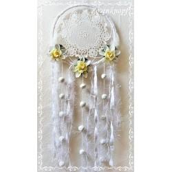 TRAUMFÄNGER Dreamcatcher Windspiel Shabby Stil Weiß Blüten Rund UNIKAT (Nr.4) E+K