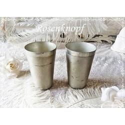 TRINKBECHER Gründerzeit Grau Blech Aluminium Vintage Shabby Brocante Rarität Sammlerstück ~1900 E+K