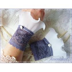 Spitzenstulpen Brautstulpen Lavendel Weiß