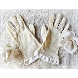 Fingerhandschuhe Stoff Ivory Braut