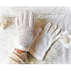 Stoffhandschuhe S Ivory Brauthandschuhe