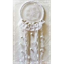 TRAUMFÄNGER Weiß Dreamcatcher Windspiel Mobile Shabby Aborigines Blüten Rüsche Sisalperlen Spitzendeckchen  21 K