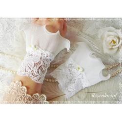 Spitzenstulpen ELEVEN Brautstulpen Pink Weiß