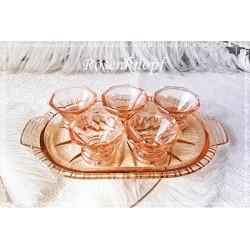 SCHNAPSGLÄSER Set Glastablett 1920 Rosalinglas Shabby Glas Rosalin Vintage Brocante Antiquität Geschenk Herren E