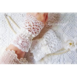 Spitzenstulpen Weiß Braut Vintage Damen E