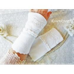 STULPEN Weiß Brautstulpen Armstulpen Fleecestulpen Damenstulpen Handstulpen Spitze Reinweiß E+K