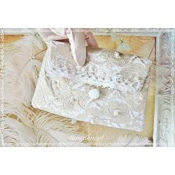 CLUTCH Brautclutch Silber Weiß Spitze