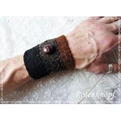 HERREN Pulswärmer Manschette Stulpe Armband Schwarz Braun Walk Männer FERIN