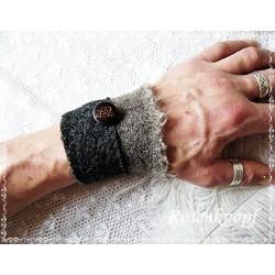 HERREN Pulswärmer Manschette Stulpe Armband Walk Anthrazit Braun Männer TRISTAN