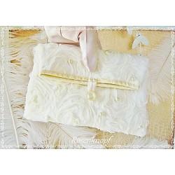 CLUTCH Brautclutch Brauttasche Handtasche Damenhandtasche Abendtasche Ivory Rosen Spitze E