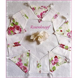 WIMPELKETTE  Nr.1  Girlande Fahnen Weiß Pink Rosen Shabby UNIKAT Geschenk Mitbringsel Give Away Rosenmuster E