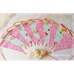 WIMPELKETTE Nr.7 Girlande Fahnen Hellblau Pink Rosen Shabby UNIKAT Geschenk Mitbringsel Give Away Rosenmuster E+K