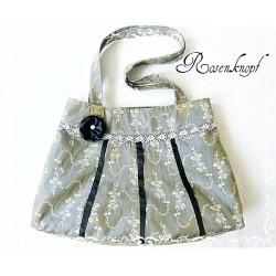 SCHULTERTASCHE Handtasche Shopper Tasche Damenhandtasche Umhängetasche UNIKAT Grau Ivory Spitze E