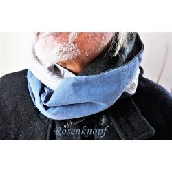 LOOP Schlauchschal Schal Rundschal Dunkelblau Blau Grau Männer Herren UNIKAT E+K