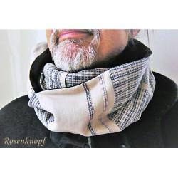 Herrenloop Beige Dunkelblau Anthrazit Schal Unikat E+K