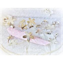 SERVIETTENRINGE Blume Tafelsilber Versilbert Shabby Vintage Brocante Silber Tischdekoration Tischschmuck E