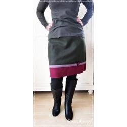Damenrock Dunkelgrün Weinrot Lila Größe M 38-40 Unikat  E